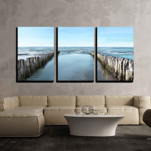 Sea Outdoor Art (wall26 - 3 Piece Canvas Wall Art - Sea and Breakwater - Modern Home Decor Stretched and Framed Ready to Hang - 24