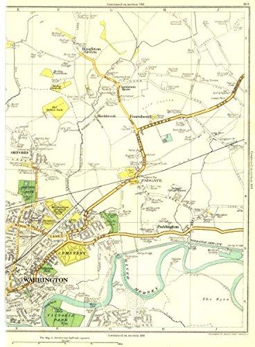 Paddington Green - WARRINGTON:Orford,Padgate,Paddington,Fearnhead,Houghton Green 1935 old map