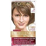 L'Oréal Paris Excellence Créme Permanent Hair Color, 6 Light Brown, 1 kit 100% Gray Coverage Hair Dye