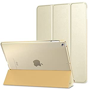 MoKo Case for iPad 9.7 2018/2017 - Slim Lightweight Smart Shell Stand Cover with Translucent Frosted Back Protector for Apple iPad 9.7 Inch (iPad 5, iPad 6), Champagne Gold(Auto Wake/Sleep)