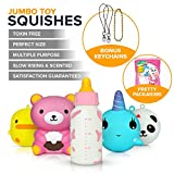 5 PCS Jumbo Squishies Value Pack – Super Cute Kawaii, Slow Rising, Animal Squishy Toys Set (Giant Bear, Panda, Whale, Chicken, Milk Bottle) Plus 3 Free Keychains. Fun for Kids, Teens & Adults.
