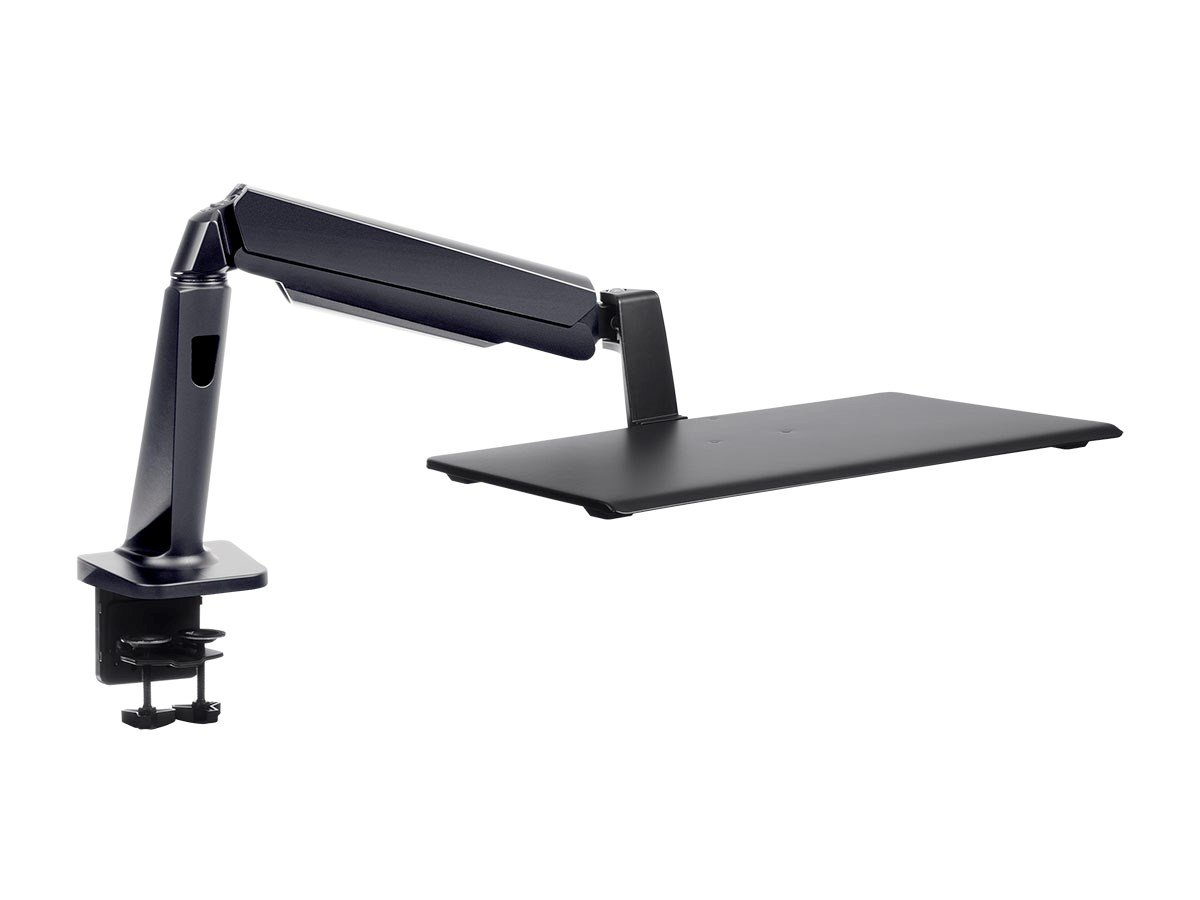Monoprice Height Adjustable Gas Spring Sit Stand Laptop Riser Desk Mount - Black, 25 Inch Table Top Workstation | Easy To Use, Compatible With Most Desks