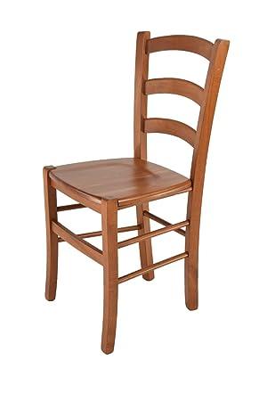 Tommychairs sillas de Design - Silla Modelo Venice, de Cocina, Comedor, Bar y Restaurante, con Estructura en Madera Color Cerezo y Asiento en Madera