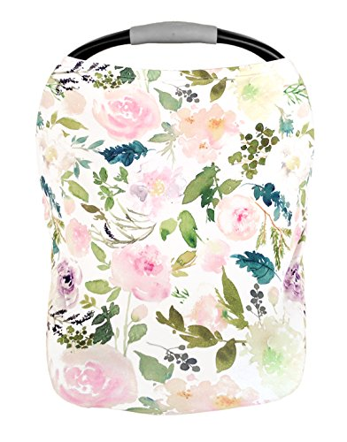 Premium Soft, Stretchy, and Spacious 5 in 1 Multi-Use Cover for Nursing, Baby Car Seat, Stroller, Scarf, and Shopping Cart - Best Gifts by Pobibaby (Allure) ()