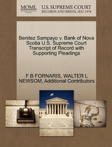 benitez-sampayo-v-bank-of-nova-scotia-us-supreme-court-transcript-of-record-with-supporting-pleading