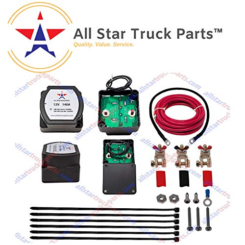 [ALL STAR TRUCK PARTS] 12V 140 Amp Dual Battery Isolator - Voltage Sensitive Relay (VSR) Pro Dual Battery Kit) (Best Dual Battery Kit)