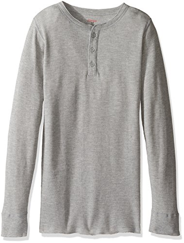 Hanes Men's Big Red Label X-Temp Thermal Henley, Heather Grey, Medium