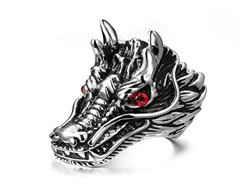 Gothic Silver Rings (Mens Stainless Steel Vintage Biker Gothic Red Silver Dragon Ring Band Size 12)