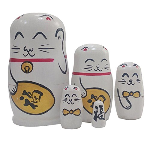 Winterworm Creative Cute Fortune Cat Lucky Cat Handmade Wooden Russian Nesting Dolls Matryoshka Dolls Set 5 Pieces for Kids Doll Toy Birthday Home Decoration (White)
