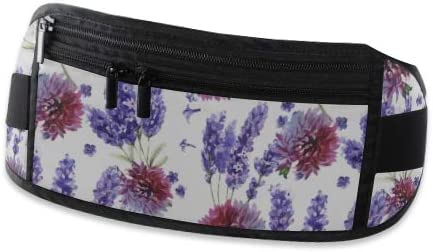 Travel Waist Pack,travel Pocket With Adjustable Belt Wildflower Lavender Flower Pattern Style Running Lumbar Pack For Travel Outdoor Sports Walking