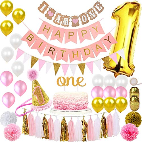 1st Birthday Girl Party Decorations - FunDeco Party 1st Birthday Decorations for Girl 'Mega Bundle' | Pink and Gold Girls Theme Kit Set | First Bday Hat, One' Cake Topper, Foil and Latex Balloons, Banner x 2, Pom Poms, Bunting, Tassel