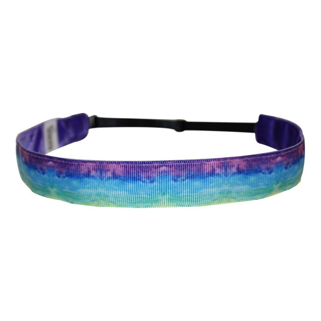 BEACHGIRL Bands Womens and Girl Headband - Non-Slip Velvet-Lined Sport Hairband Watercolor Purple