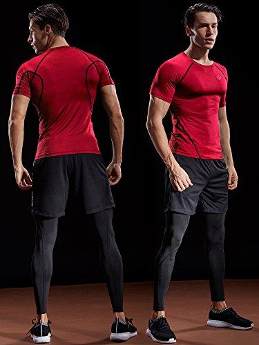 Neleus Men's 3 Pack Compression Baselayer Athletic Workout T Shirts,5022,Black,Grey,Blue,US S,EU M by Neleus (Image #2)
