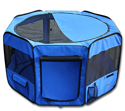 YoYo Moon 45″ Pet Puppy Dog Playpen Exercise Puppy Pen Kennel 600d Oxford Cloth Blue