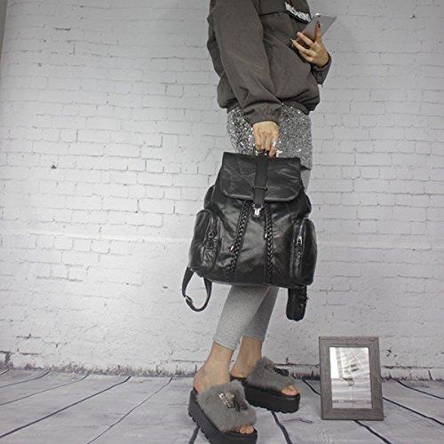 Señora Suave Cuero Personalidad Tendencia Negro Mochila Black