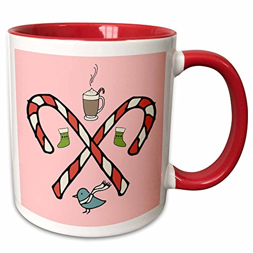3dRose TNMGraphics Winter - Crossed Peppermint Sticks With hot Chocolate and Little Blue Birds - 15oz Two-Tone Red Mug ()