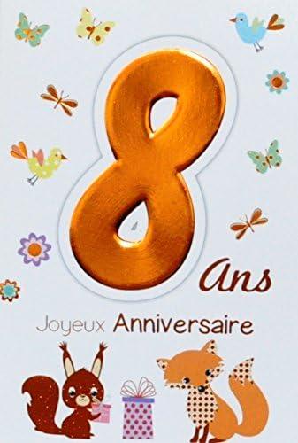 Age Mv 69 2008 Carte Joyeux Anniversaire 8 Ans Enfant Garcon Fille Motif Cadeau Ecureuil Renard Oiseaux Papillons Amazon Fr Fournitures De Bureau
