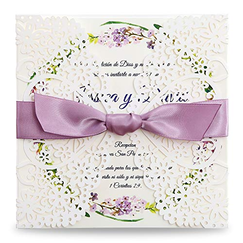 Dream Bulit Square Wedding Invitations Cards Kits Fall Bridal, Baby Shower Invite, Birthday Invitation Wedding Rehearsal Dinner Invites, Autumn Engagement Bach with Purple Bowknot Hollow,50pc (50)