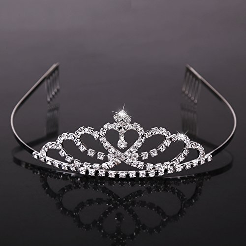 Tiara Crown For Girls Heart Shaped Princess Crown With Rhinestones Great For Weddings Birthday Party Pageant and Halloween