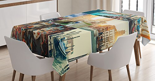(Ambesonne Home Decor Tablecloth, Designed Masks for Carnival of Venice Baroque Style Gondola on River Italy Landmark Picture Art, Dining Room Kitchen Rectangular Table Cover, 60 X 84 Inches, Dark Teal)
