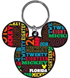 Disney 2018 Mickey Icon Multicolored Laser Keychain Keyring Florida wordcloud