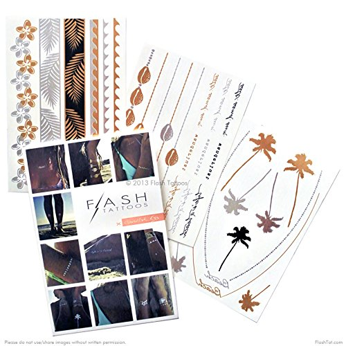 Flash Tattoos Goldfish Kiss Authentic Metallic Temporary Tattoos 3 Sheet Pack (Black/gold/silver) - Includes Over 28 Assorted Premium Tropical Waterproof Tattoos
