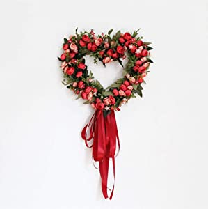 Landy 12-Inch Rose Flower Heart Wreath with Silk Ribbon, Peony Flowers Garland Wreath, Handmade Home Decoration for Wedding Valentine's Day Christmas, Red