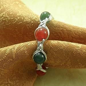 CH y CH perla anillo de servilleta jadella 6 flores, acrílico fantronix 4,5 cm, rosa