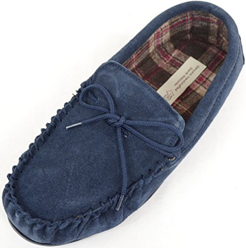 Slipper Rubber Snugrugs Moccasin Cotton Suede Sole with Lined Navy Mens fwWXqwSgU
