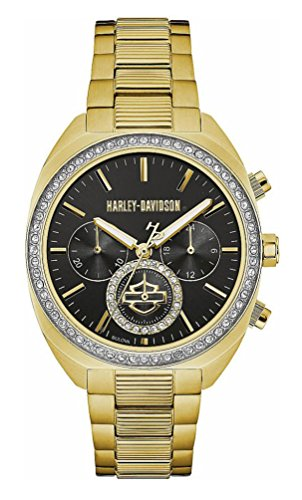 Harley-Davidson Womens B&S Crystal Bezel Chronograph Stainless Steel Watch