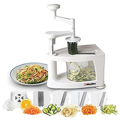 Heavy Duty Spiral (Mueller Spiral-Ultra Multi-Blade Spiralizer, 8 into 1 Spiral Slicer, Heavy Duty Salad Utensil, Vegetable Pasta Maker and Mandoline Slicer for Low Carb/Paleo/Gluten-Free Meals)