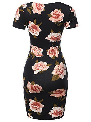 Made Sexy Mini Casual Bodycon Flower Women's Short Fewdrs0017 Dress Sleeve Solid Black Emma Stretchable by rnfPfIg