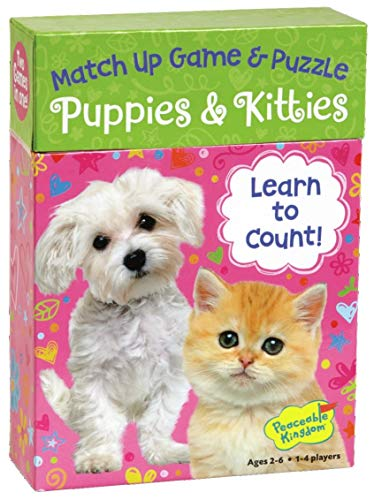 Peaceable Kingdom Puppies & Kitties 24 Card Number Match Up Memory Game and Floor Puzzle for Kids