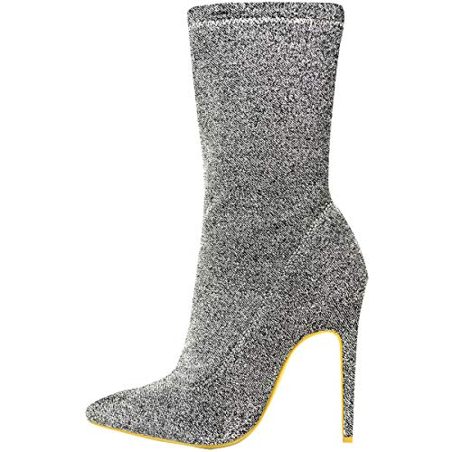 Lycra Toe Ankle Knit Pointed Metallic High Thirsty Shoes Stiletto Ladies Boots Fashion Silver Stretch Heels Womens PYqcwt