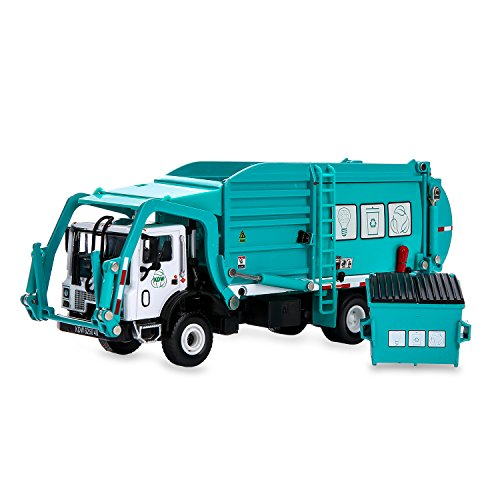 Truck Diecast - Garbage Truck Toy Model, 1:43 Scale Metal Diecast Recycling Clean Trash Garbage Rubbish Waste Transport Truck Alloy Model Mold Car Toy with Garbage Cans for Kids Toddlers Birthday Party Supplies