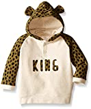 Rosie Pope Little Boys French Terry Popover Hoodie with Printed Sleeve and 3D Ears, Lizard, 18 Months