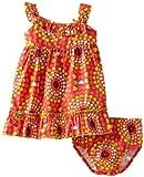 Lilybird Baby-Girls Infant Color Print Dress, Orange, 12 Months image