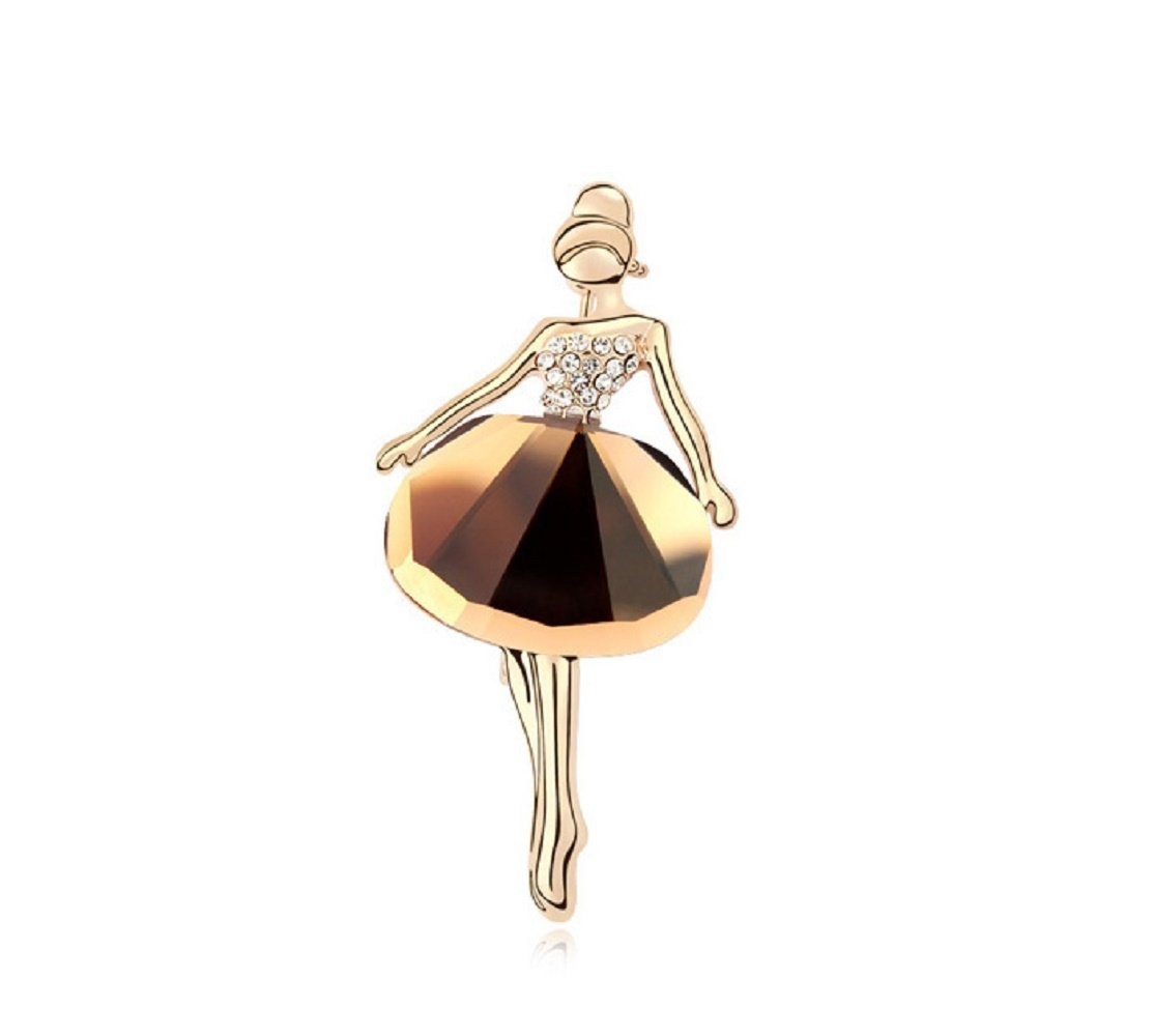 Crystals from Swarovski Brown Simulated Topaz Ballerina Pin Brooch 18 ct Gold Plated for Women