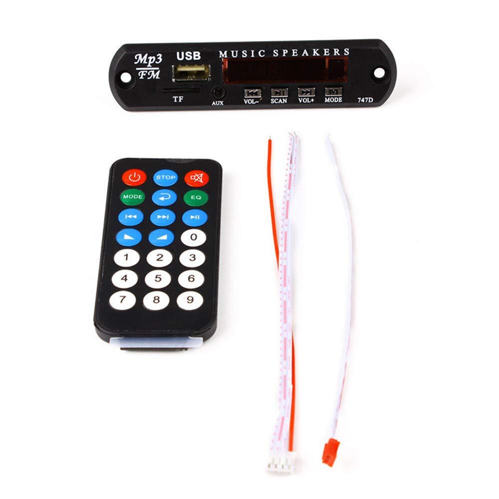 RainBabe M/ódulo de Reproductor de Audio Bluetooth USB SD FM MP3 Decodificador Junta Altavoz de Control Remoto