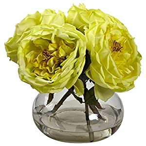 GREATHOPES Yellow Fancy Rose Artificial Flower Decorative w/Vase 10