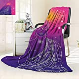 vanfan Supersoft Fleece Throw Blanket Indian Yoga God in Lotus Position Meditation Chakra Ethnic Boho Image Violet Fuchsia,Silky Soft,Anti-Static,2 Ply Thick Blanket. (90''x90'')