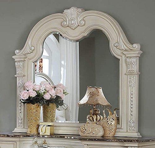 Stanley Antique White Wood Frame Dresser Mirror by Crown Mark