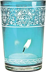 Painted Glass Candle Holder (3.25-Inch, Banded Design, Turquoise Blue) - For Use with Tea Lights - For Home Decor, Parties, and Wedding Decorations