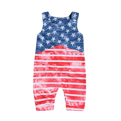XiaoReddou Baby Boys Girls USA Flag American Stars Stripes Romper Bodysuit 4th of July Outfit Clothes (Red Striped, 0-6 Months)