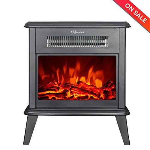 HollyHOME 17'' Free Standing Electric Fireplace with 2 Infrared Tube, Firebox Heater with LED Flame (Retro Fan Heater)
