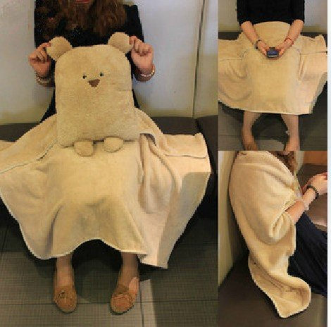 Patty Both 3 in 1 Bear Travel Blanket & Hand Warm & Pillow Set Adults Kids Throw Pillow Cushion (Brown) - Blanket Bear Travel
