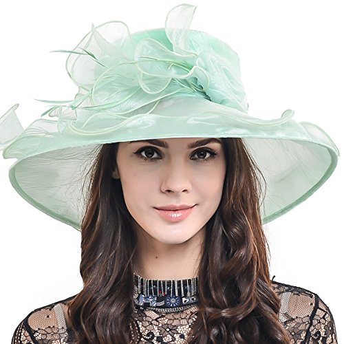 Two-tone Tea party Kt Derby Church Hat Wedding Dress Hat Bridal Shower 037db (Light Green-48)