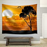 wall26 - Africa Safari Nature Sunset. Element of Design. - Fabric Wall Tapestry Home Decor - 51x60 inches