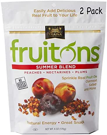 Traina Home Grown Fruitons California Sun Dried Summer Blend Fruit Mix - Peaches, Nectarines and Plums, No Sugar Added, Non GMO, Gluten Free, Kosher Certified, 6 oz pouch (pack of 2)
