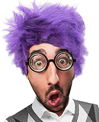 Purple Wig and Glasses Set Fear Costume Fear Wig